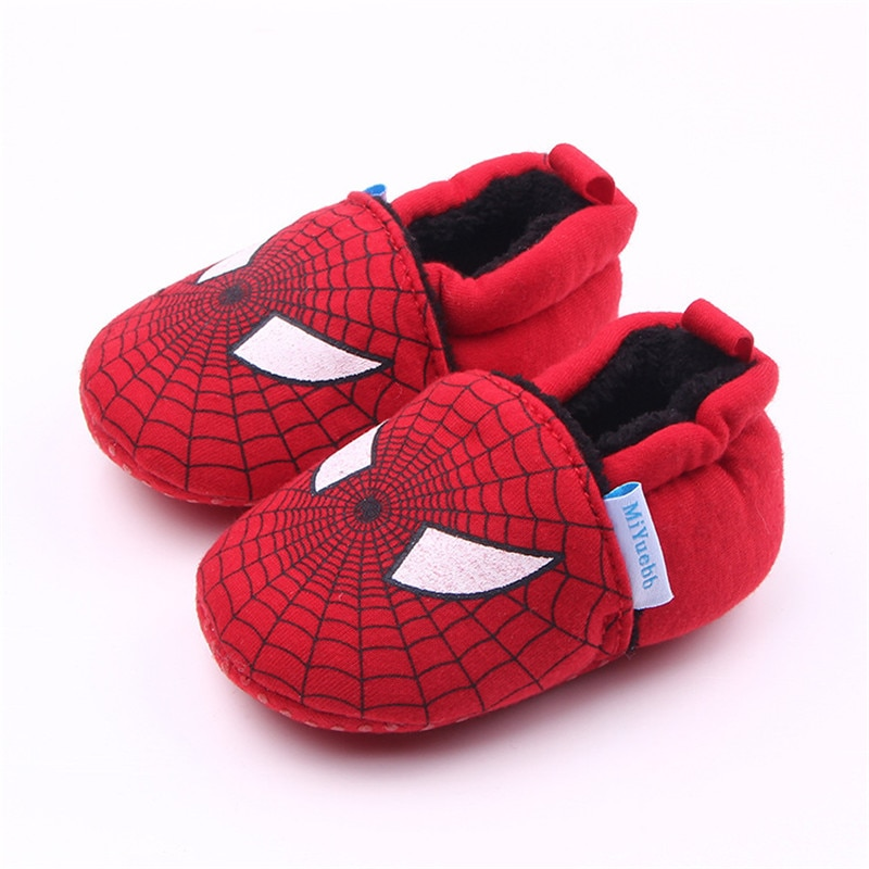 Baby Plus Plush First Walkers Autumn And Winter New Cartoon Animal  Knitted Fabric Dots Shoes Toddler Infant