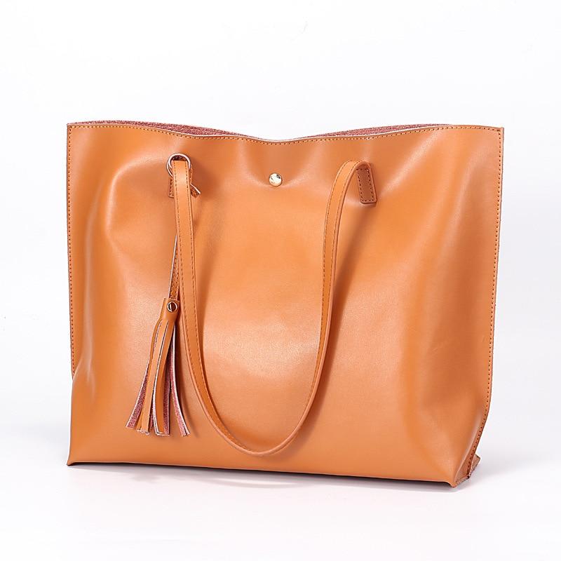 New Genuine Leather Handbags Tote Women High Quality Female Composite Bag Fashion Design Women's Soft Cowhide Shoulder Bag