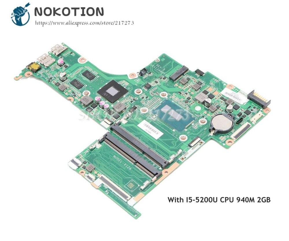 NOKOTION ل HP جناح 15-AB اللوحة المحمول DAX12AMB6D0 809044-501 809044-001 SR23Y I5-5200U وحدة المعالجة المركزية 940M 2GB