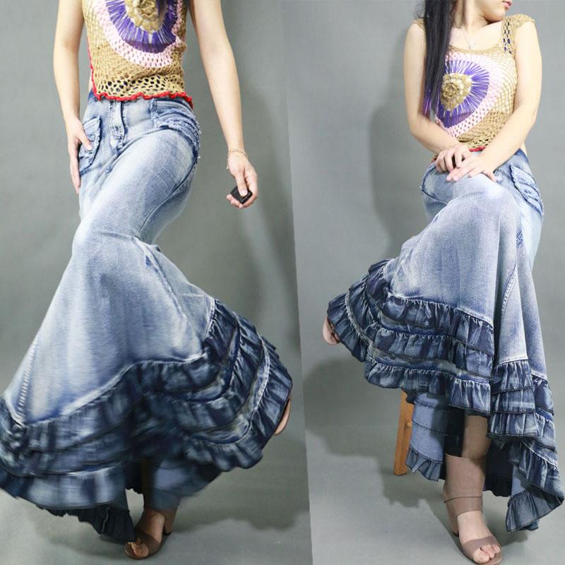Vintage Denim Skirts New Fashion Women Tight-fitting Slim Package Hip Blue Denim Skirt Ladies Ruffle Mermaid Maxi Long Skirt