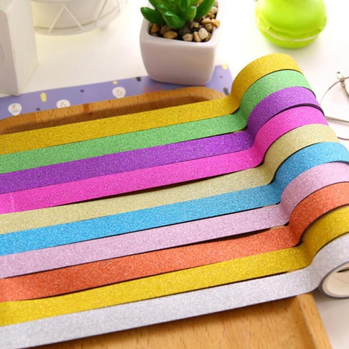 1 Pza/lote cinta brillante decoración washitape para hojas para diario cintas papelería material escolar de oficina (tt-2761)