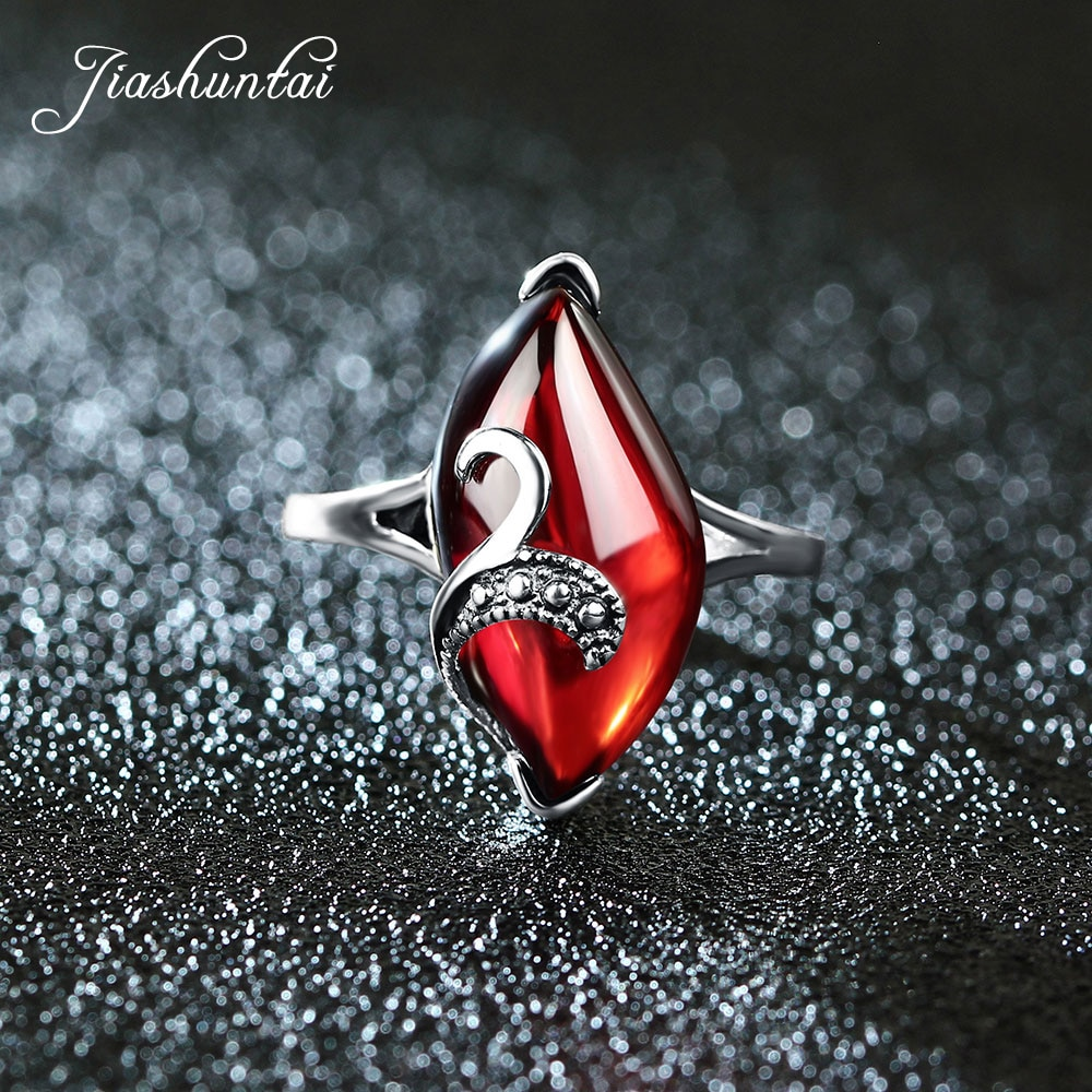 Женские серебряные кольца JIASHUNTAI, Винтажные Ювелирные изделия из стерлингового серебра 925 пробы с красным желтым камнем