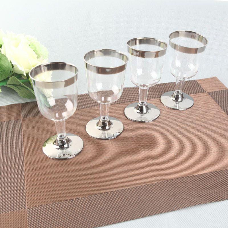 Copas de champán desechables de 180ML de color dorado de 6 uds., Copas de champán de plástico para fiesta de cumpleaños de boda suministros para copas de champán