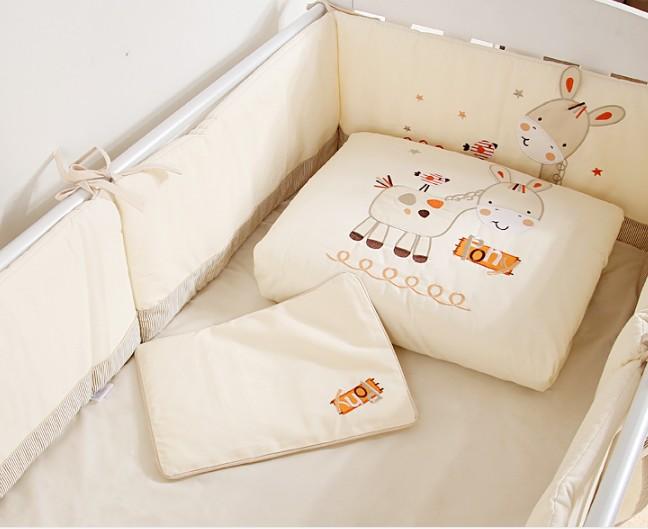 baby stuff for newborns 7PCS embroidered Baby Crib Bedding Set Bumper Set Kids Baby Cot Bumper ,(2bumper+duvet+sheet+pillow)
