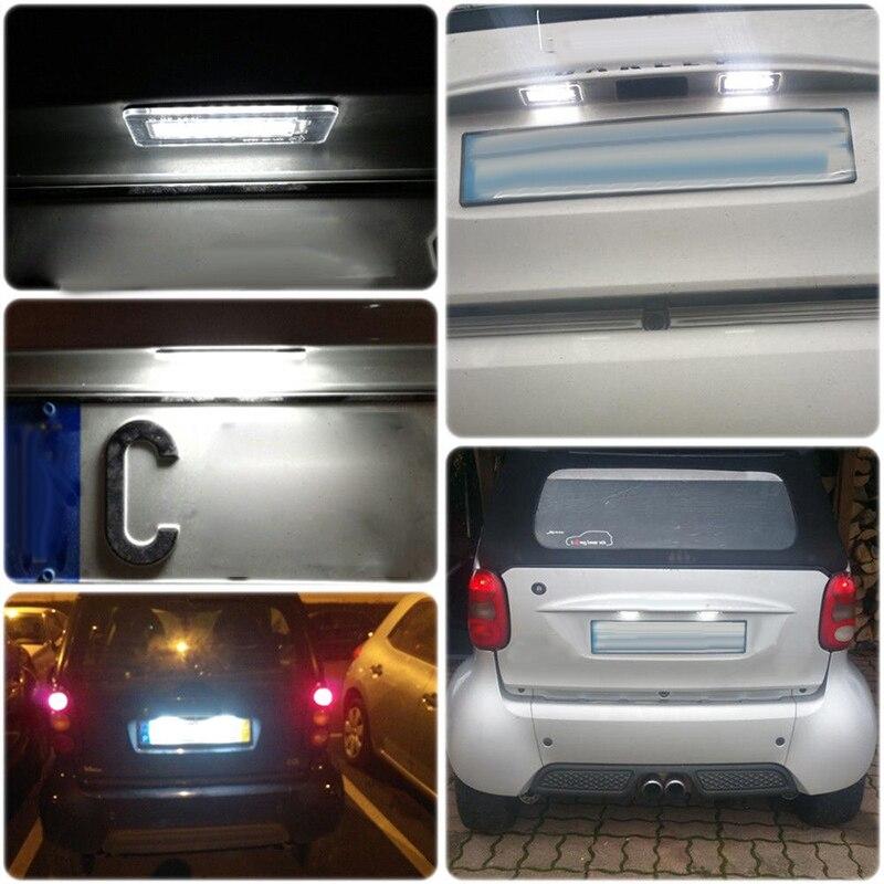 2 pces carro led para smart fortwo coupe para conversível luzes da placa de licença 450 451 durável útil quente