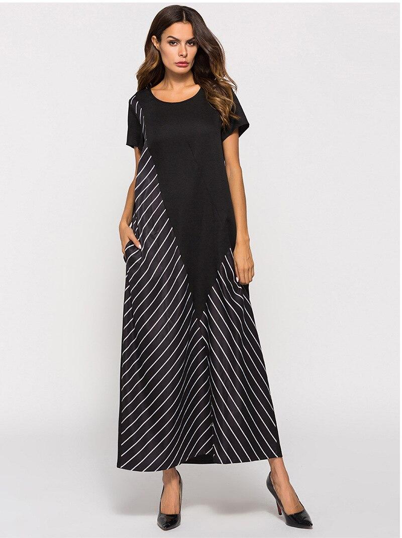 Casual Striped Abaya Muslim Maxi Dress T Shirt Long Robe Gowns Kimono Middle East Jubah Ramadan India Arab Islamic Clothing