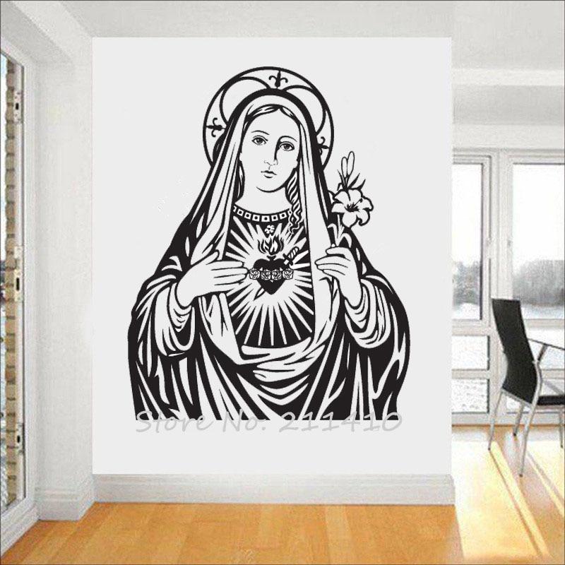 The Heart of Virgin Mary Wall Sticker Home Decor Living Room Classic Catholic church Wall Decal Adesivo de parede Mural A712