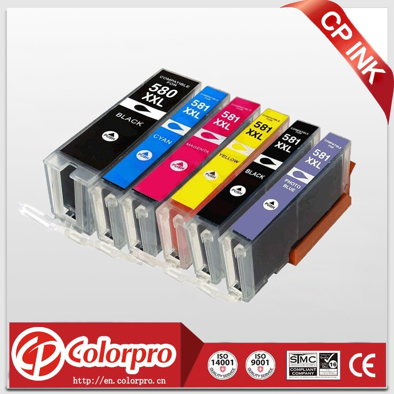 CP 6PK Compatible PGI-580 CLI-581 Ink Cartridge for Canon Pixma TR7550 TR8550 TS6150 TS6151 TS8150 TS8151 TS8152 TS9150 TS9155
