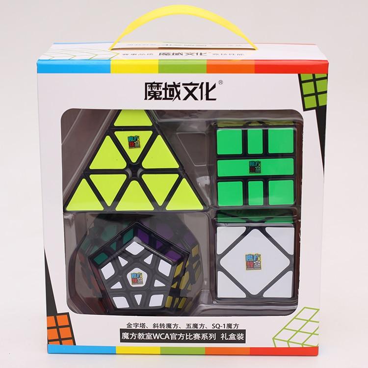 Juego de 4 Uds. De cubo mágico Mofangjiaoshi de Moyu Meilong, juguetes educativos para niños, juegos profesionales