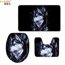 HUGSIDEA tapis de salle de bain imprimé Husky 3D   Antidérapant, accessoires de décoration de maison Style Animal pour salle de bain, ensemble de tapis lavables 3 pièces