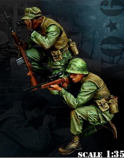 1/35 skala Vietnam War US Army Sniper Uhr 2 menschen miniaturen Harz Modell Kit abbildung Freies Verschiffen