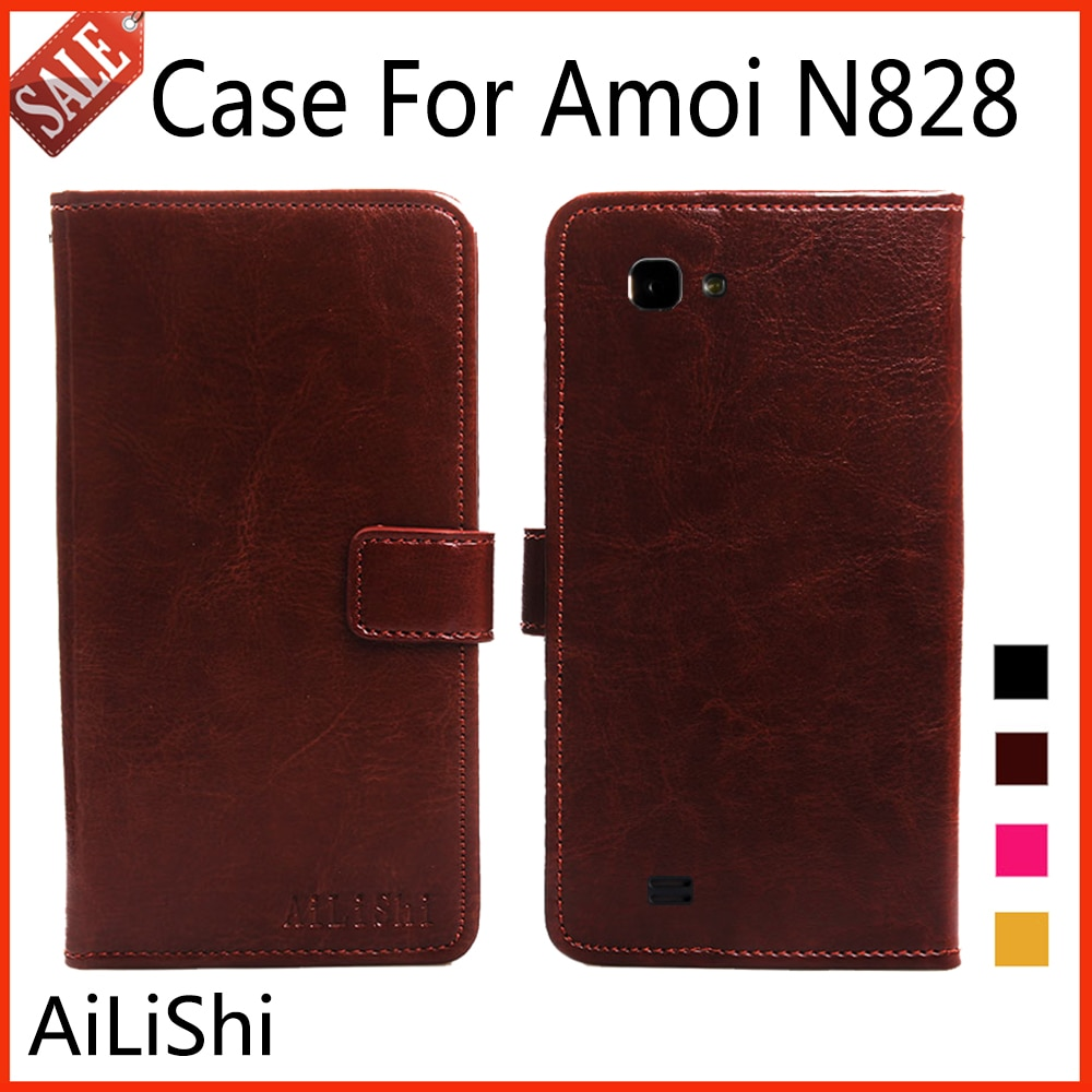 Кожаный чехол AiLiShi с откидной крышкой для Amoi N828, модный защитный чехол, чехол для телефона, кошелек, 4 вида цветов, со слотом для карт!