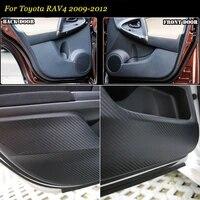 brand new 1 set interior 3d carbon fiber doors side edge anti kick protection pad sticker for toyota rav4 2009 12