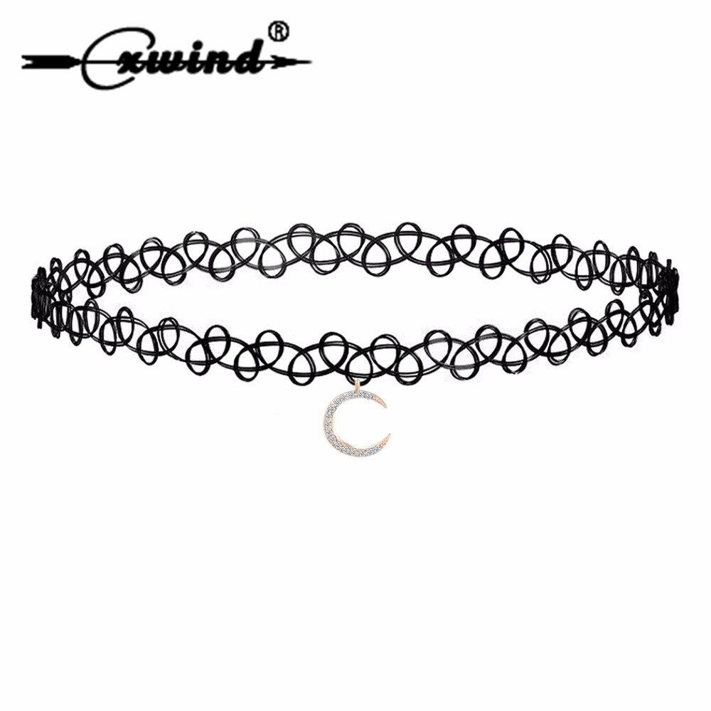 Cxwind gargantilla de encaje negro de moda collar de media luna colgante CZ gargantilla collares para mujeres joyas de cuello gótico