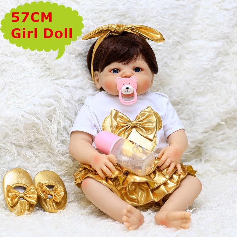 2018 новая силиконовая кукла для новорожденных, 57 см, кукла для новорожденных, для девочек, живая, настоящая, сенсорная, Bebe Reborn Doll Boneca, игрушка для детей, игрушка для купания