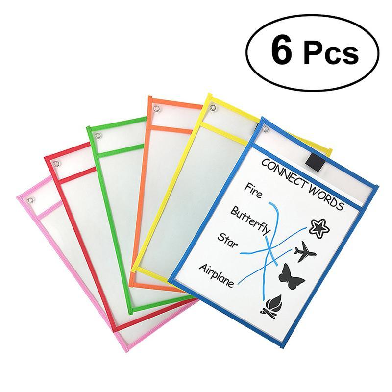 Crianças transparente escrever e limpar bolsos reutilizáveis seco apagar bolsos mangas 6 cores sortidas com suporte de caneta suprimentos de armazenamento