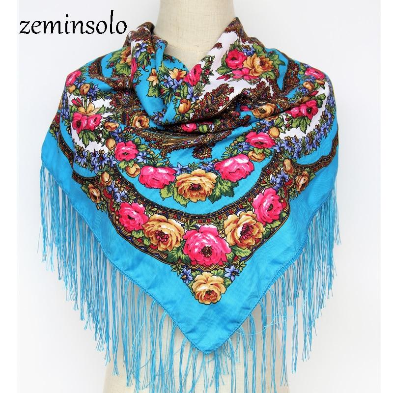 Fashion Women Big Square Tassel Scarf Bandana Printed Flowers Luxury Brand Wraps Spring Shawl Autumn Winter Scarves