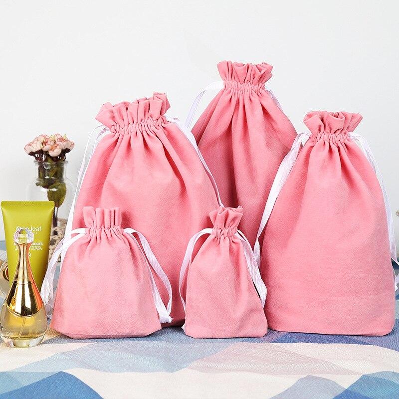 6 Dimensioni di Alta Qualità di Imballaggio Rosa Sacchetto di Velluto Stampa del Logo Personalizzato Coulisse Borse Del Sacchetto All'ingrosso Per I Regali di Nozze