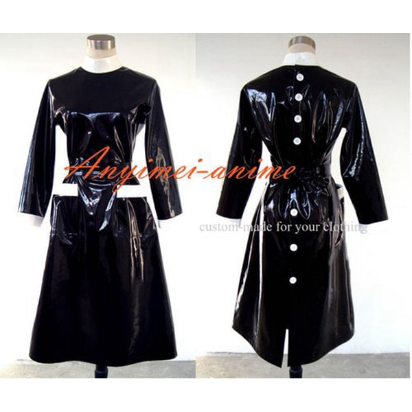 Sissy dama negro Pvc bata uniforme delantal vestido Cosplay traje hecho a medida [G246]
