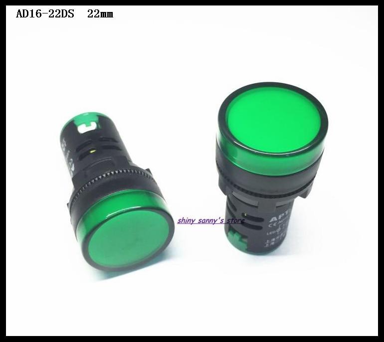 10 шт./лот, зеленый светодиодный индикатор питания, диаметр 22 мм, 12 В, 24 В, 36 В, 110 В, AC220 в, 10 шт./лот