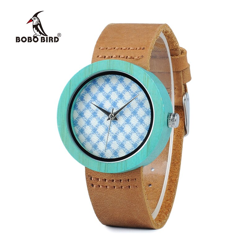 BOBO VOGEL WD18 Holz Bambus Uhr mit Echtem Braun Lederband Quarz Analog Hohe Qualität Miyota Bewegung Holz Geschenk Box