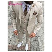 Linyixun 2019 dernières conceptions de pantalon de manteau Beige hommes costume de bal smoking Slim Fit 3 pièce Style marié hommes costumes Blazer personnalisé Terno
