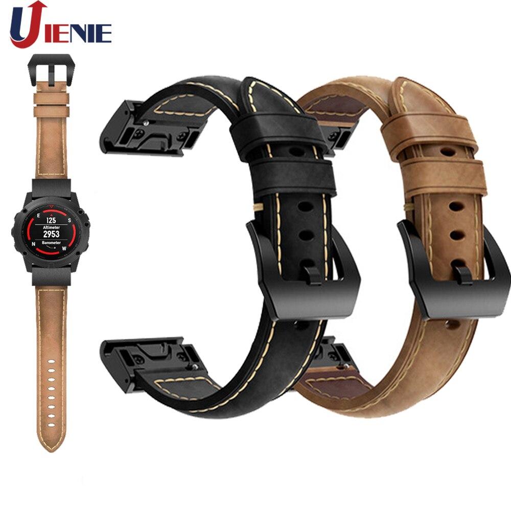 20/22/26mm Leather Watchband Wrist Band Strap for Garmin Fenix 5/5X/5S Plus 6/6x/6s Smart Bracelet Quick Fit Wristband Correa