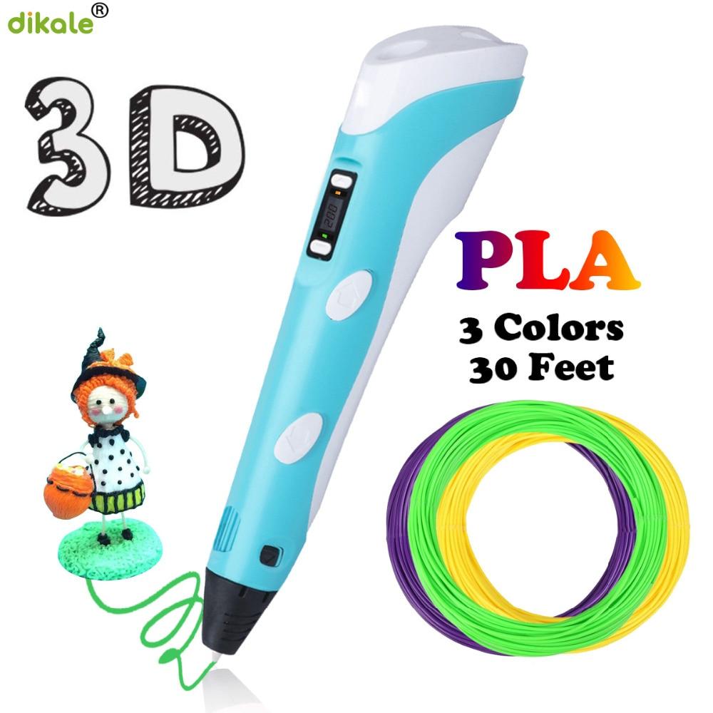 Dikale bolígrafos 3D 2nd Generation pantalla LED 1,75mm PLA DIY Smart 12V 3D dibujo impresora pluma 3 D mejor regalo para niños