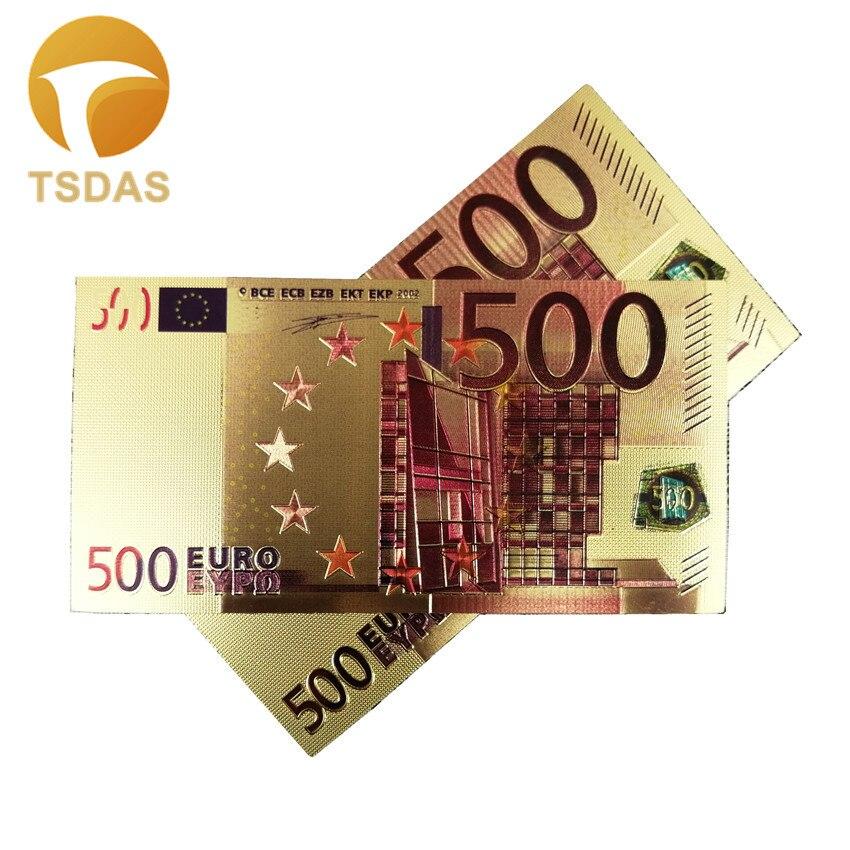 24k золотые банкноты 500 евро Золотая фольга коллекционные сувенирные банкноты подарок Прямая поставка