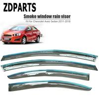 ZDPARTS 4Pieces/Set Car Wind Deflector Sun Guard Rain Wind Vent Visor Cover Trim For Chevrolet Aveo Sedan 2011-2017 2018