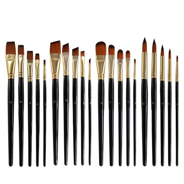 Artist Paint Brush Set 5Pcs High Quality Nylon Hair Wood Black Handle Watercolor Acrylic Oil Brush Painting Art Supplies 4
