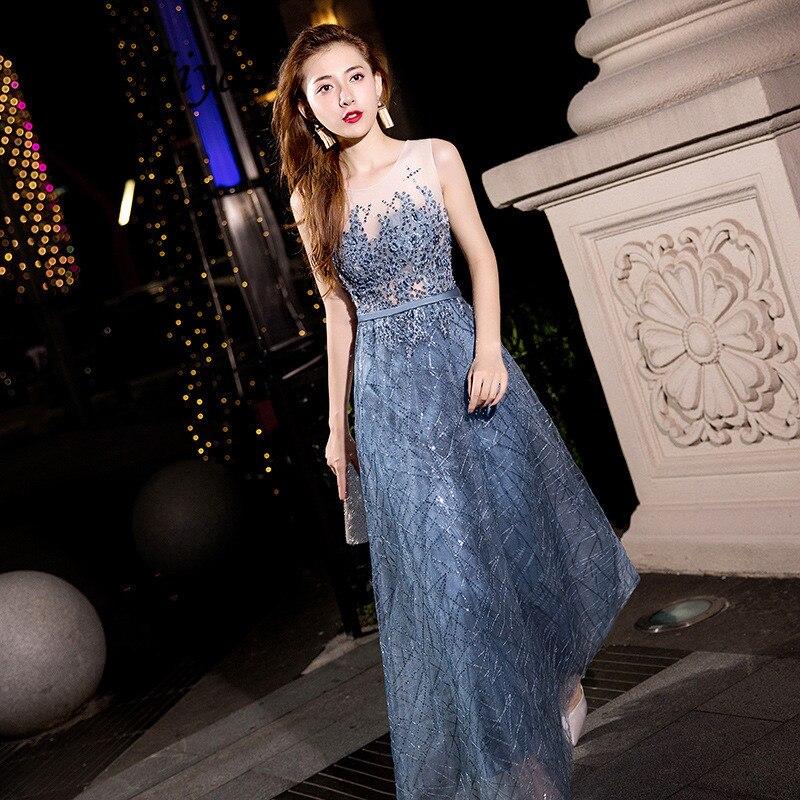 É yiiya vestido de noite miçangas pérolas o-pescoço moda vestidos de festa manga cinza azul até o chão longo vestidos formais e060