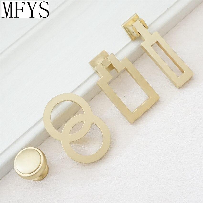 1,1 ''latón Tiradores para vestidor cajón manijas perillas tiradores colgantes cepillado gabinete dorado perillas de manija de puerta de Hardware