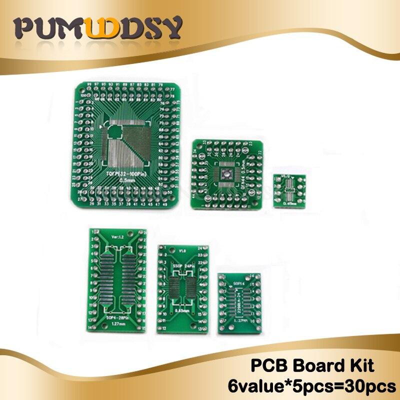 30PCS = 6 Valor * 5pcs placa PCB Kit SMD que DIP convertidor de adaptador placa FQFP 32 44 64 80 100 QFP QFN48 SOP SSOP TSSOP 8 16 24 28