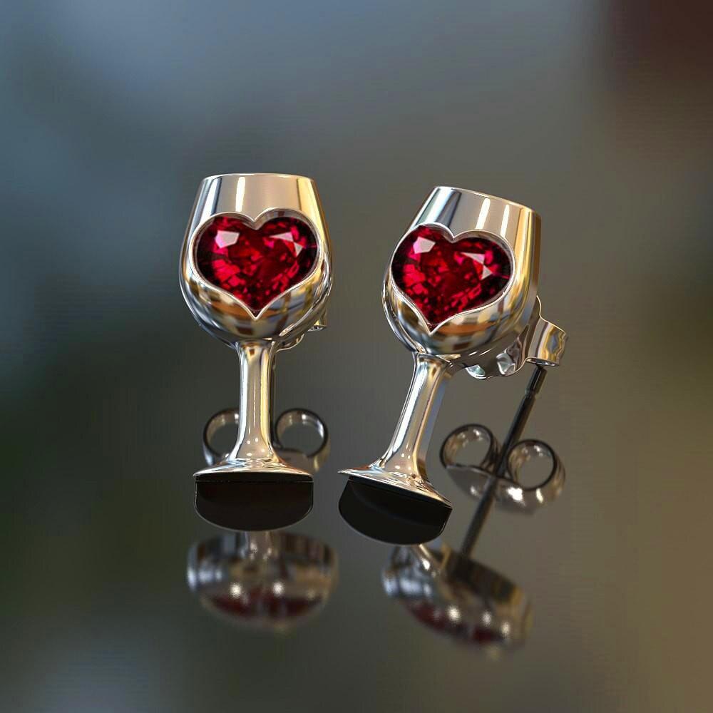 Charm Female Crystal Red Heart Stud Earrings Simple Silver Color Wedding Jewelry Vintage Style Wine Earrings For Women
