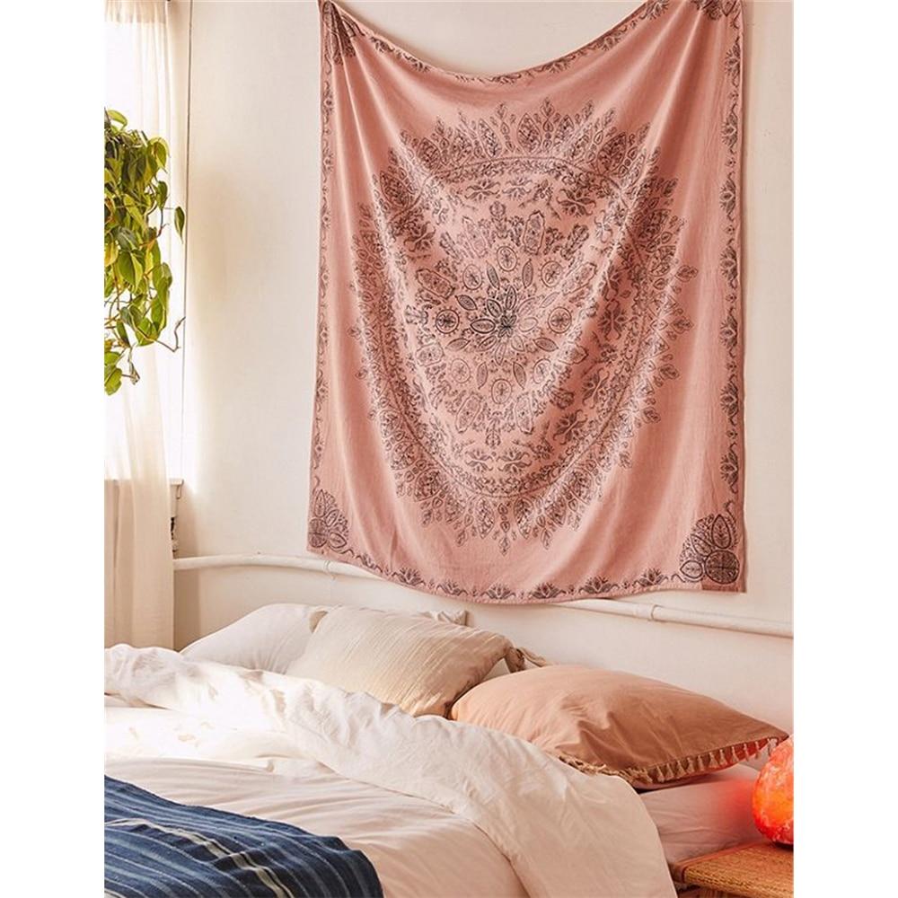 Decoración de pared Bohemia, tapiz de macramé, alfombra colgante para pared, Mandala Floral psicodélico, tela de pared, tapices, cabecero de dormitorio, chal de playa