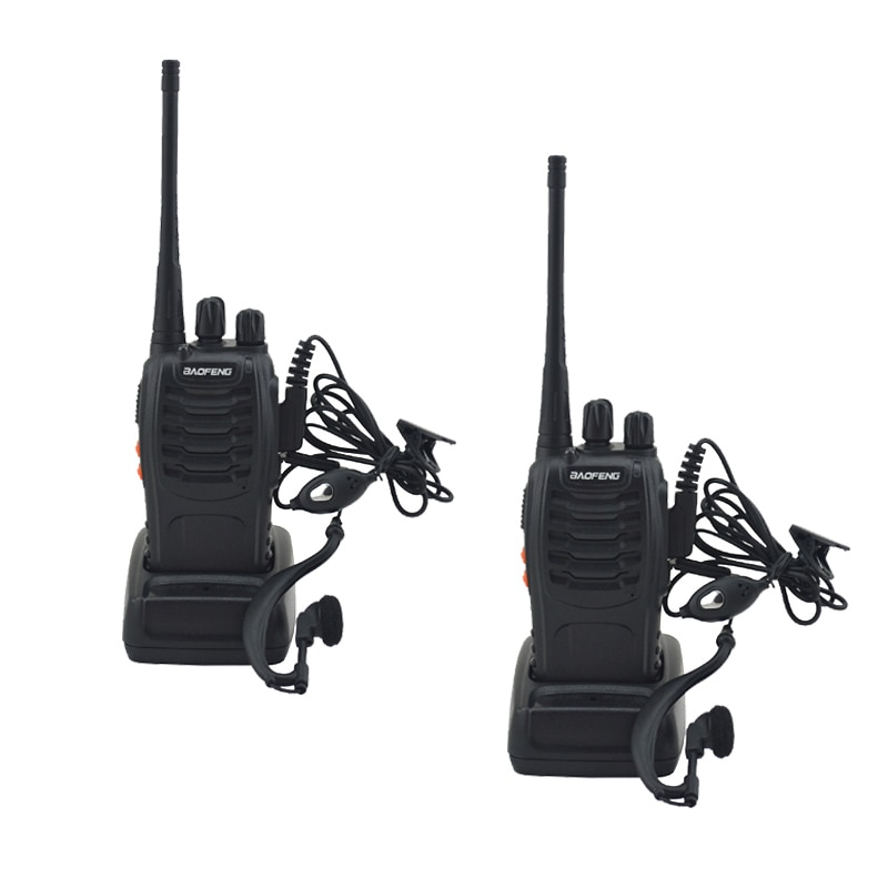 2pcs/lot BF-888S baofeng walkie talkie 888s UHF 400-470MHz 16Channel Portable two way radio with ear
