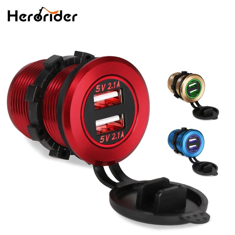 Chargeur de voiture USB 12-24V   Pour moto, camion ATV bateau, voiture 4,2a, double prise USB, chargeur, adaptateur électrique, sortie de puissance