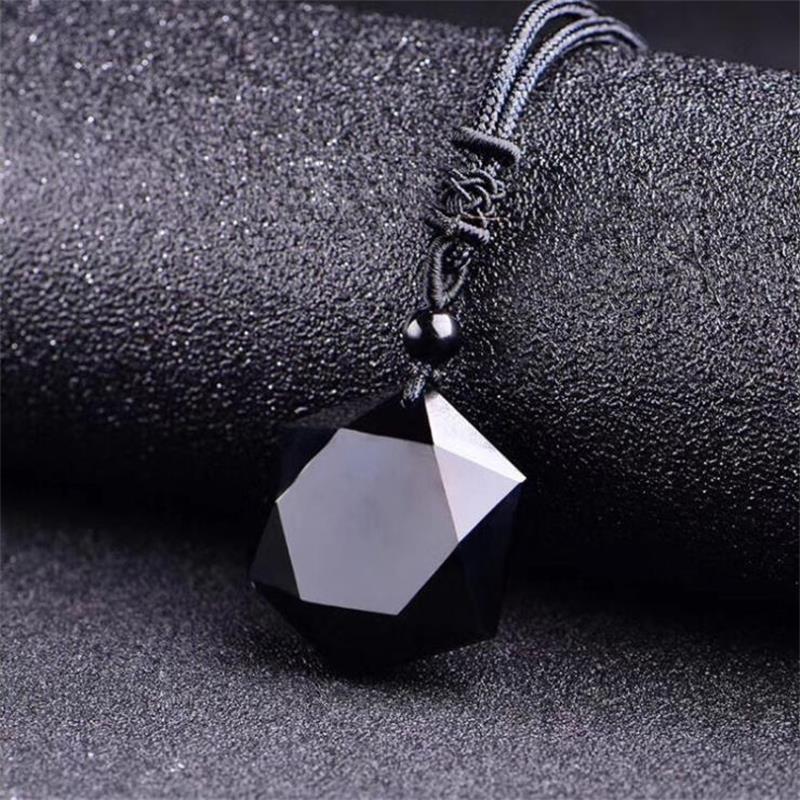 Colgante de piedra Natural obsidiana negra, 5000CC, collares para mujeres y hombres, suéter de hexagrama cúbico, collar, amuletos, joyería