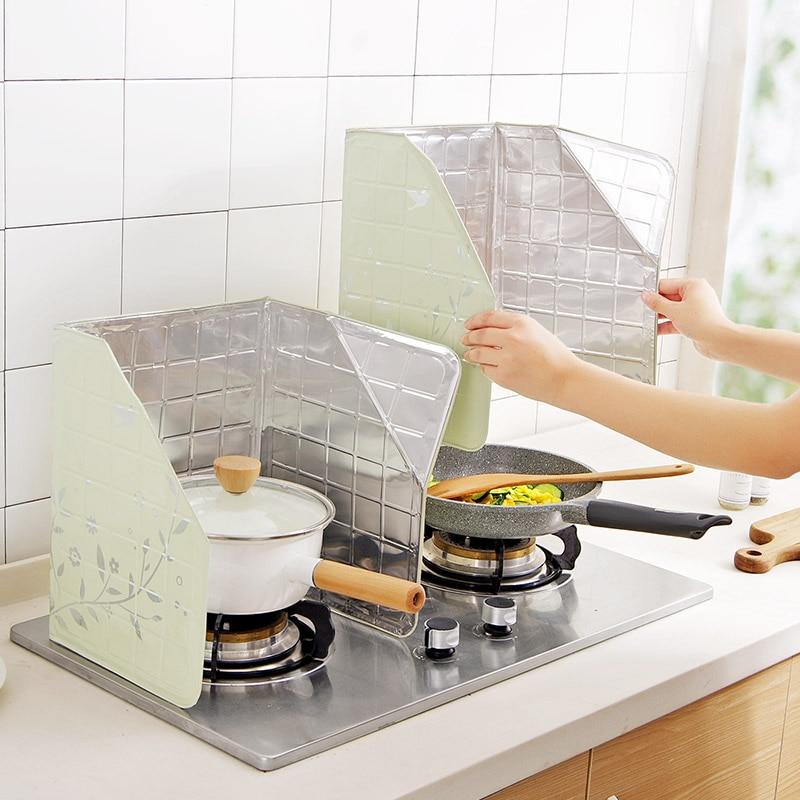 1pcs גז תנור רדיד אלומיניום מגן שמן מחסום שומר סנסציה לבלבל כלי בישול מחבת כיסוי שמן אביזרי מטבח כלים