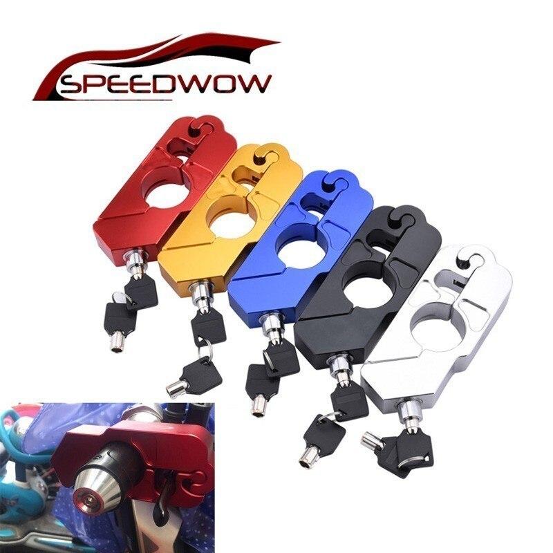 Speedwow fechadura para guidão de motocicleta, guidão, alavanca de freio, travamento a disco para honda kawasaki yamaha