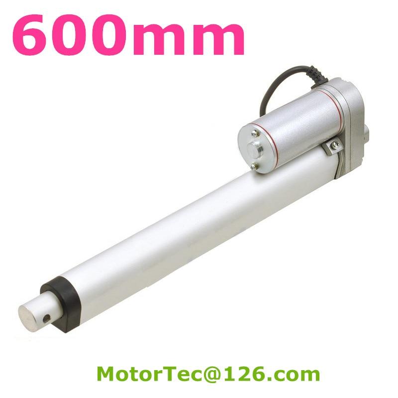 600 مللي متر السكتة الدماغية 1600N 160 كجم الحمولة عالية السرعة 12 فولت 24 فولت تيار مستمر المحرك الخطي الكهربائي ، المحرك الخطي