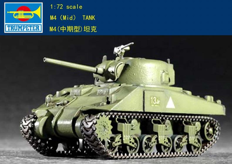 """Trompeta 07223 1 72 Ejército de EE. UU. M4 tanque """"Sherman"""" (mediano plazo) Modelo de montaje"""