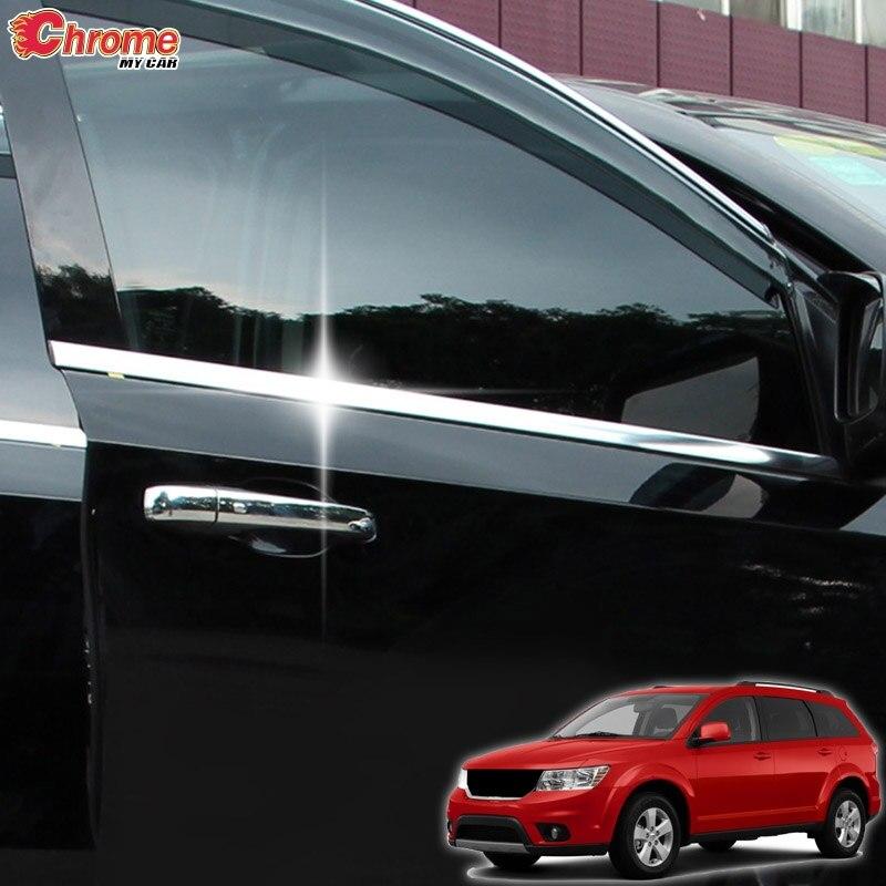 For Dodge Journey Fiat Freemont Chrome Door Bottom Window Molding Trim Frame Cover Strip Car Styling 2009 - 2018 2015 2016 2017