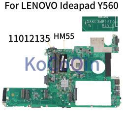 Laptop motherboard Para LENOVO Ideapad KoCoQin Y560 PGA989 DAKL3MB16E0 11012135 HM55 Mainboard
