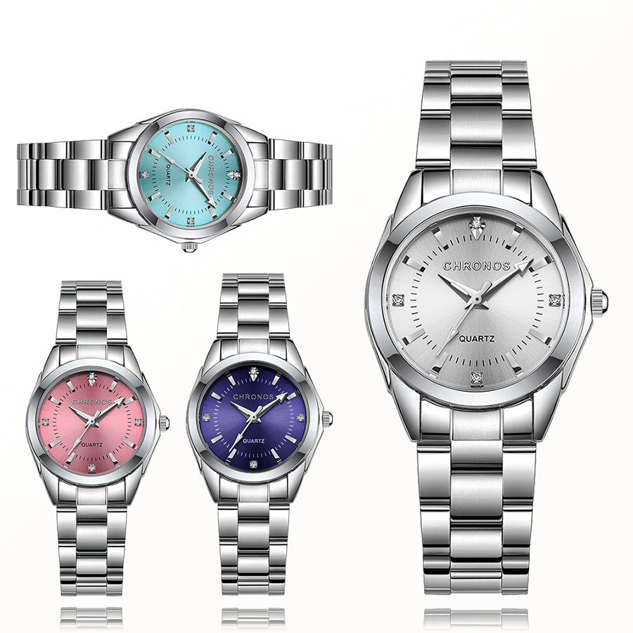 CHRONOS Women Luxury Rhinestone Stainless Steel Quartz Watches Ladies Business Watch Japanese Quartz