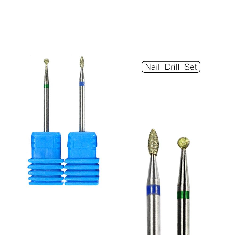 Алмазное сверло для ногтей в форме шара, 2 шт., сверло для очистки кутикулы, аксессуары для маникюра, мельница для ухода за ногтями, инструмент для LAjg03-08