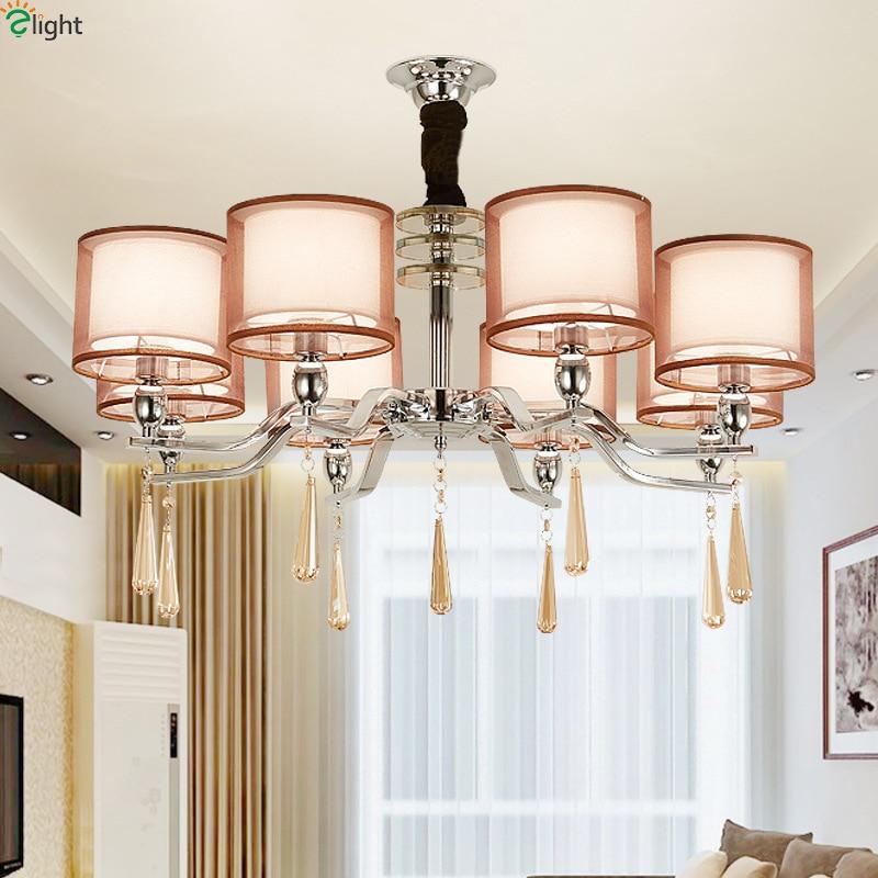 Современный, хромированный, металлический, светодиодные люстры, освещение, Хрустальная столовая Led подвесная люстра, освещение для гостино...