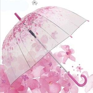 Романтический прозрачный с объемным цветком на купол Зонт Полуавтомат для ветер сильный дождь