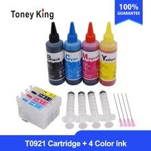 T0921 cartouche dencre rechargeable pour EPSON stylet T26 T27 TX106 TX109 TX117 TX119 C51 C91 CX4300 imprimante + 4 couleurs recharge encre à colorant